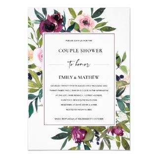 WHITE BLUSH BURGUNDY FLORAL BUNCH COUPLE SHOWER INVITATION