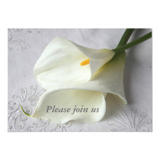 white calla lilies on linen wedding Invitations