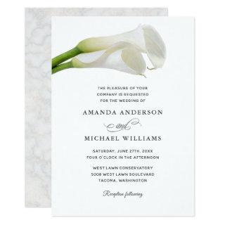 White Calla Lilies Watercolor Floral Wedding Invitation