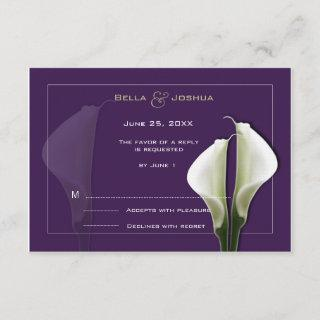 White Calla Lillies RSVP on Purple