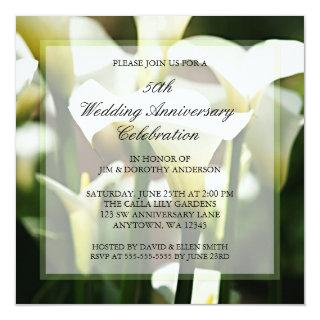 White Calla Lily 50th Wedding Anniversary Invitations