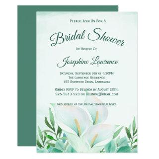 White Calla Lily Floral Bridal Shower Invitations