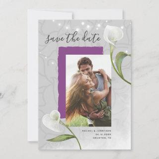 White Calla Lily Photo Save the Date Invitations
