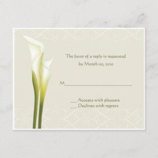 White Calla Lily Reply cards