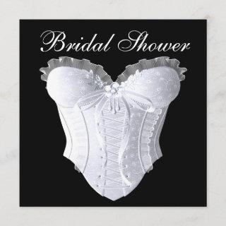 White Corset Bridal Shower Any Color Background Invitations