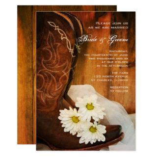 White Daisies Cowboy Boots Country Western Wedding Invitations