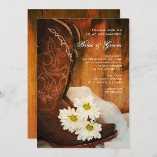 White Daisies Cowboy Boots Country Western Wedding