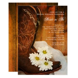 White Daisies Cowboy Boots Western Bridal Shower Invitations