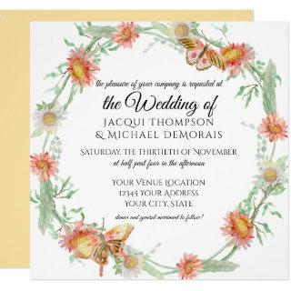 White Daisies Gold Yellow n Coral Butterfly Floral Invitations