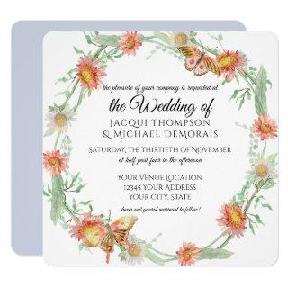 White Daisies Lavender Flowers Butterfly Floral Invitation