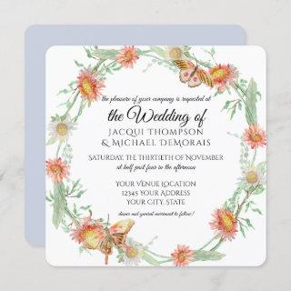 White Daisies Lavender Flowers Butterfly Floral Invitations