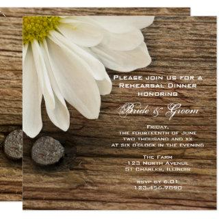 White Daisy and Barn Wood Wedding Rehearsal Dinner Invitations