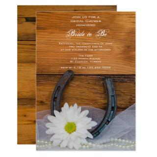 White Daisy and Horseshoe Western Bridal Shower Invitations
