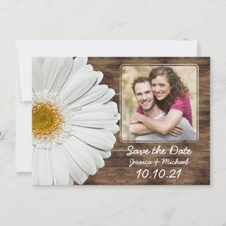 White Daisy Rustic Wood Photo Wedding Save Date Announcement