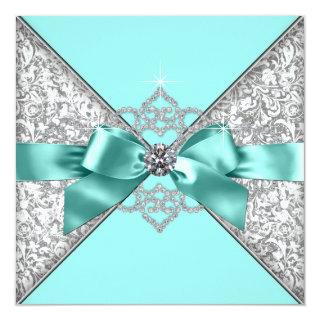 White Diamonds Teal Blue Wedding Invitations