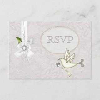 White Dove Paisley Lace & Cameo Bow RSVP Wedding