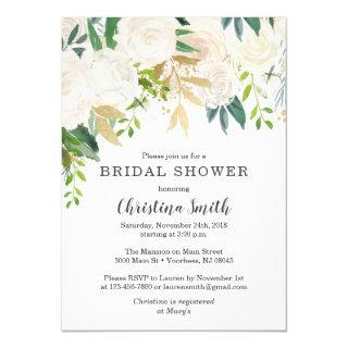 White Floral Bridal Shower Invitations with Green