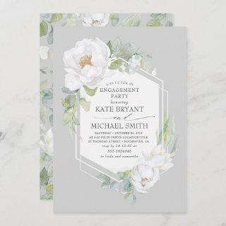 White Floral Greenery Elegant Engagement Party Invitations