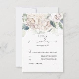 White Floral Greenery Splashes Wedding RSVP