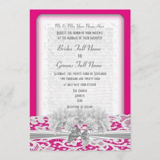 White floral lace and fuchsia pink wedding