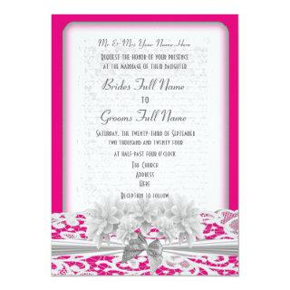 White floral lace and fuchsia pink wedding Invitations