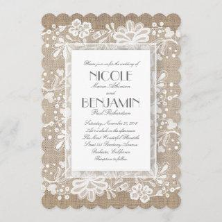 White Floral Lace Rustic Wedding Invitations