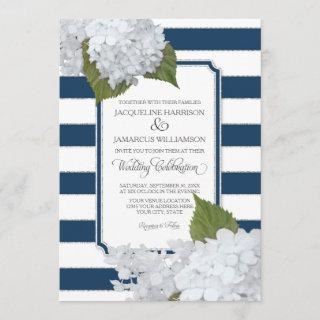 White Floral Modern Elegant Navy White Stripe Invitations