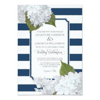 White Floral Modern Elegant Navy White Stripe Invitation