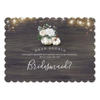 White Floral Pumpkin Rustic Bridesmaid Proposal Invitation
