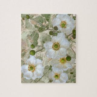 White Floral  Puzzle with Tin