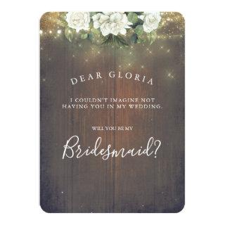 White Floral Rustic Country Bridesmaid Proposal Invitations