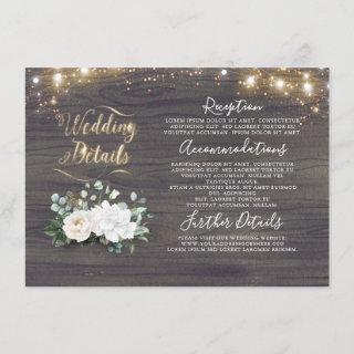White Floral Rustic Country Wedding Information Enclosure Card