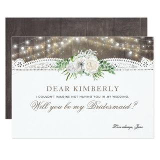 White Floral Rustic Will You Be My Bridesmaid Invitation