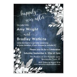 White Floral Watercolor Blue Happily Ever After Invitations