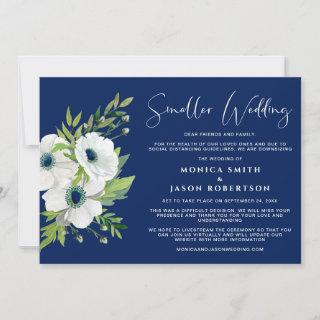 White Floral Watercolor Navy Blue Smaller Wedding Announcement