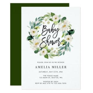 White Floral Wreath Baby Shower Invitation