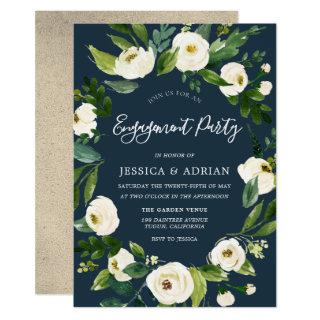 White Floral Wreath Modern Engagement Party Invite
