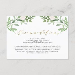 White Flowers and Greenery Wedding Accommodations Enclosure Card