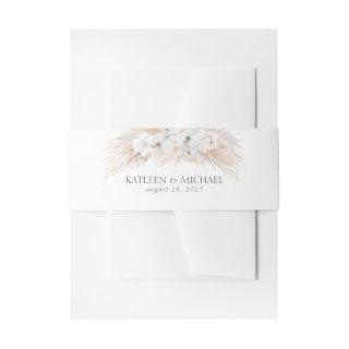 White Flowers and Pampas Grass Wedding Invitations Belly Band