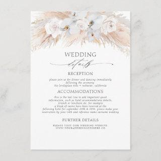 White Flowers Exotic Pampas Grass Wedding Details Enclosure Card