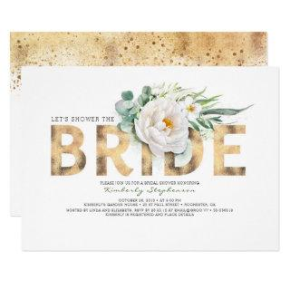 White Flowers Gold and Greenery Chic Bridal Shower Invitations