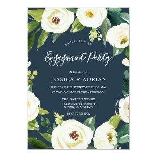 White Flowers Turquoise Engagement Party Invite