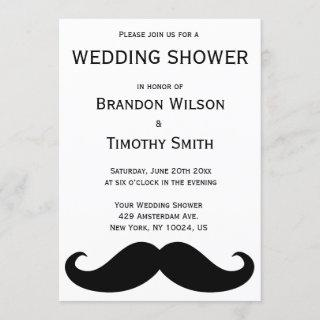White Gay Wedding Shower Invites With Moustache