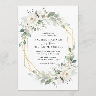 White & gold floral geometric wedding Invitations