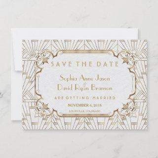 White Gold Great Art Deco Save The Date