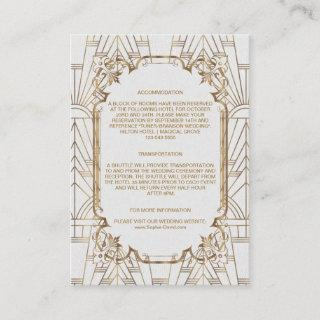 White Gold Great Gatsby Art Deco Wedding Details Enclosure Card