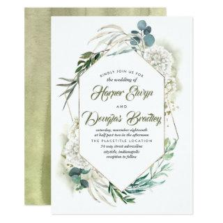 White Hydrangea and Greenery Modern Floral Wedding Invitations