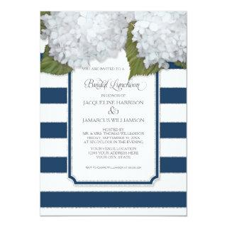 White Hydrangea Bridal Luncheon Navy Blue Stripe Invitations
