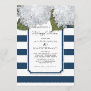 White Hydrangea Rehearsal Dinner Navy Striped Invitation