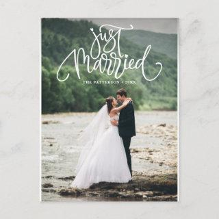 White Just Married Lettering Photo Wedding Announcement Postcard